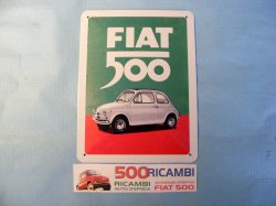 FIAT 500 F/L/R CARTELLO IN METALLO FIAT 500 TARGA VINTAGE OFFICINA GARAGE CASA