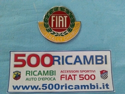 FIAT 500 D F L R STEMMA ADESIVO SCUDETTO METALLO CROMATO FIAT WORLD RALLY CHAMPION